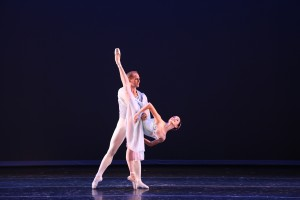 Shelby Tzung in Balanchine's Tchaikovsky Pas de Deux from Showcase 2015, with partner Seth Belliston. Photo by Todd Lechtick.